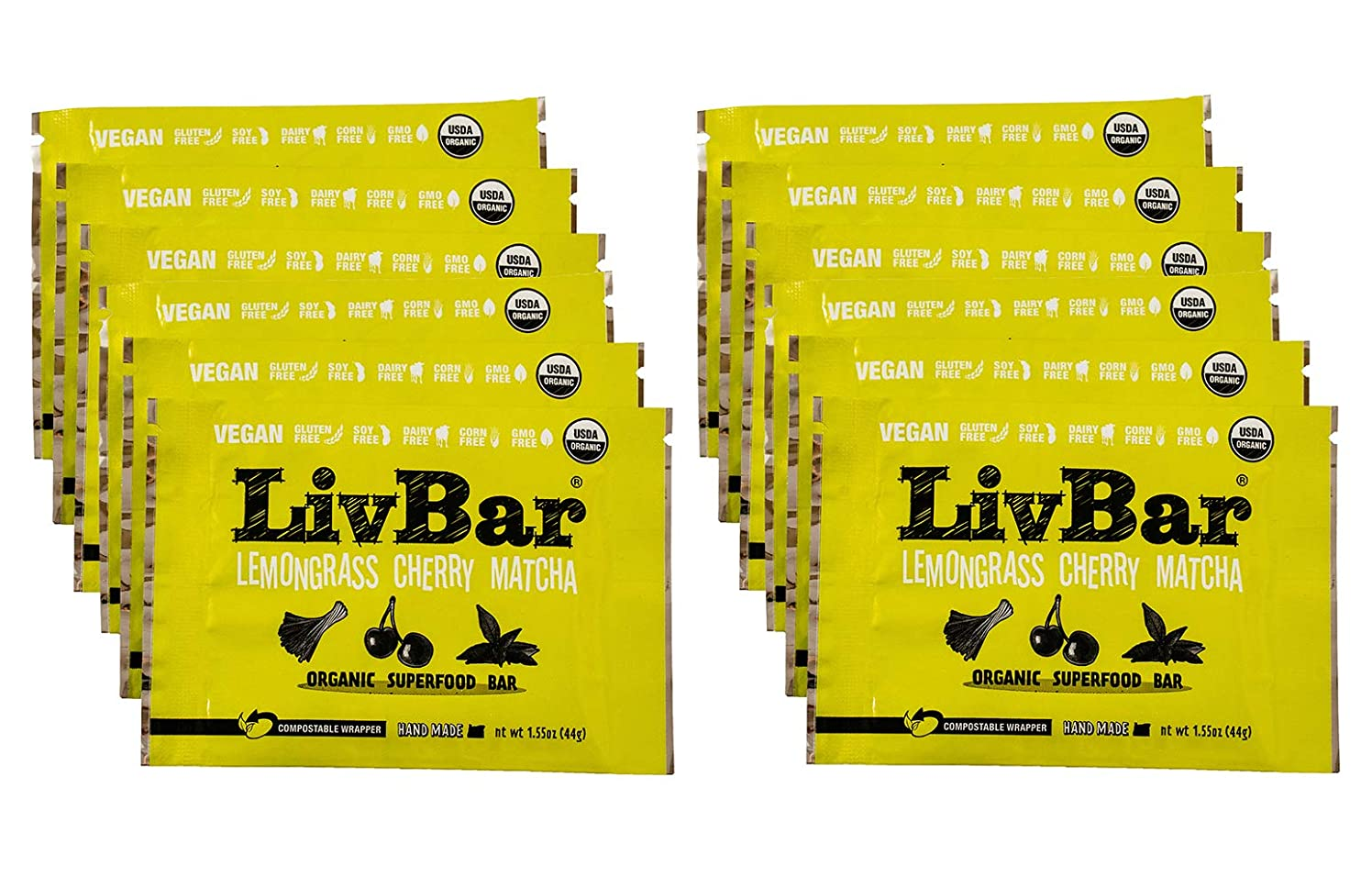 LivBar Organic All Natural Vegan Macro Snack Bar - Lemongrass Cherry Matcha, 12 Count - Healthy & Delicious Non GMO Gluten, Nut, Soy and Dairy Free Protein Bar with Low Sugar.