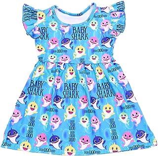 فستان بنات ملون بيبي شارك طباعة بدون أكمام ملابس أزرق حليبي