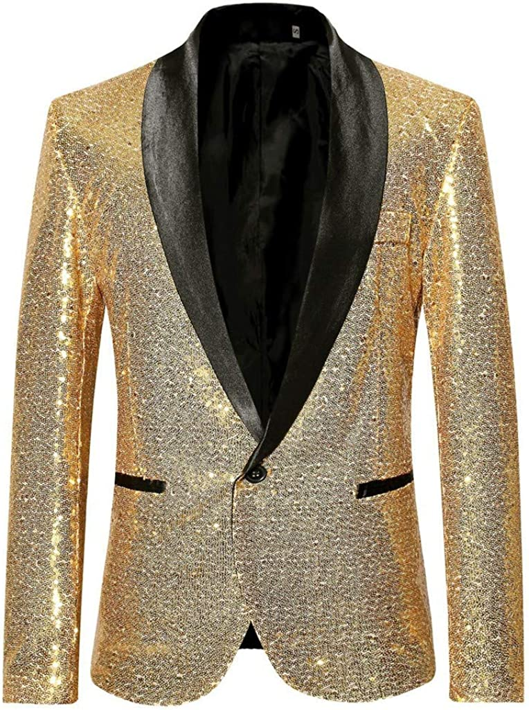 Huangse Men's Shiny Sequins Suit Jacket Novelty Blazer One Button Tuxedo for Party,Wedding,Banquet,Prom