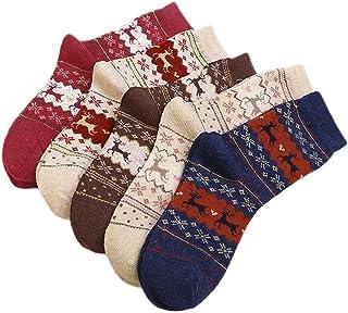 Vococal, Calcetines de Invierno[5 Pares], Santa Calcetines Mujeres Damas de Lana Reno Patrón de Calcetines para Invierno Calientes