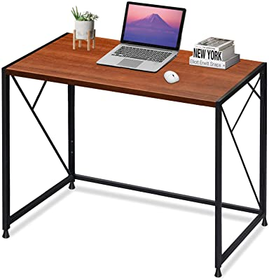 """MTY GB01-VC Computer Folding Office Writing Desk Super High Bearing Capacity Large Workspace No-Assembly Sturdy Steel Construction 39"""", Brown"""