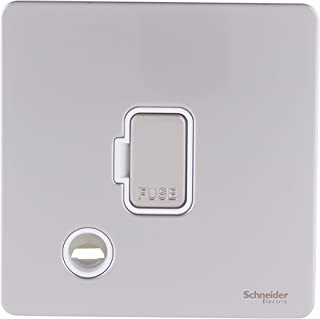 Schneider Electric Ultimate Pearl Nickel Screwless Flat Plate 13A Unswitched Spur Flex Fused Outlet White Insert