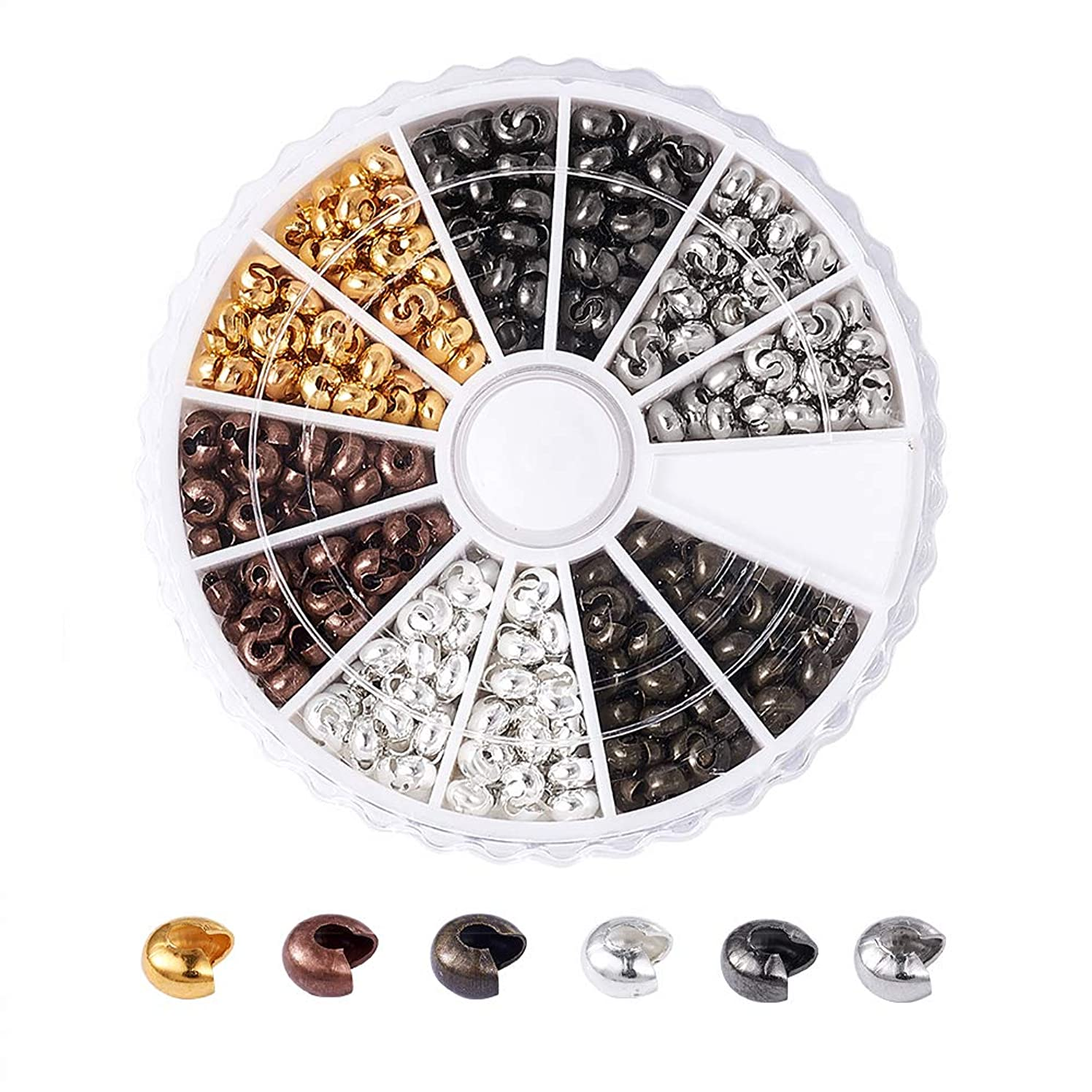Pandahall 6 Colors Brass Crimp Beads Knot Covers 3mm Cadmium Free & Lead Free & Nickel Free DIY Jewelry Making Findings About 590pcs/box
