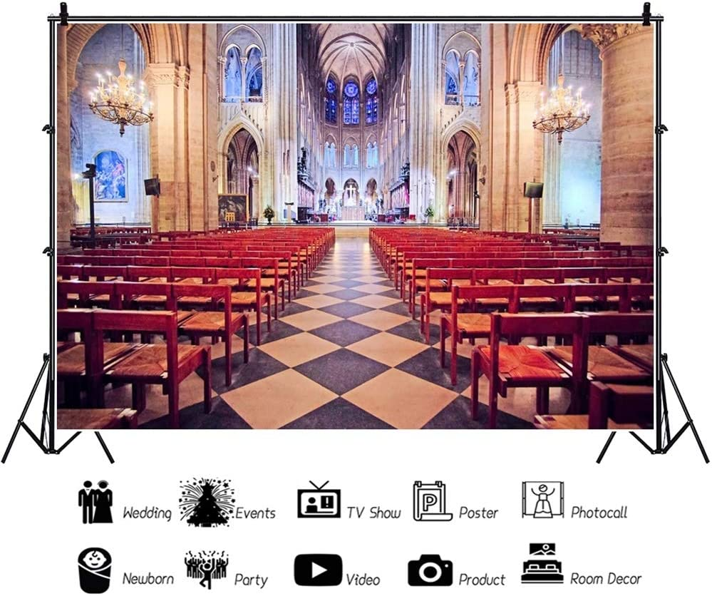 OERJU 12x10ft Interior of Notre Dame Backdrop Paris Famous Landmark Wedding Ceremony Photography Background Bridal Shower Cake Table Banners Lover Proposal Party Decor Engagement Photo Props