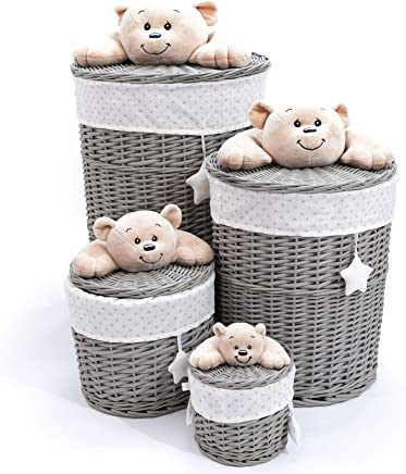 Caths Direct Set Grey Wicker Baskets with Baby Bear Each Lid