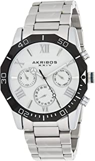 Akribos Multifunction Heavy Bracelet Men's Watch – Stylish Stainless Steel Bracelet Wristwatch - Radiant Dial 3 Subdials Quartz Multi-Function Movement - AK1054