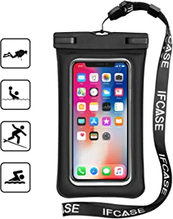 Universal Waterproof Case, IFCASE Floating TPU Phone Dry Bag Pouch for iPhone Xs Max XR X, iPhone 6 7 8 Plus, Samsung Galaxy S8+ S9+ S10+, Note 10 9 8, Pixel 3a 3 2 XL (Black)