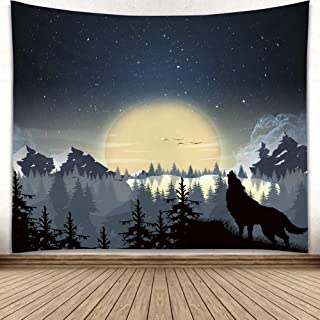 YISURE Misty Forest with Mountains Tapestry Fog Fantasy Magical Night Landscape Moon Wolf Wall Hanging 91Wx71H