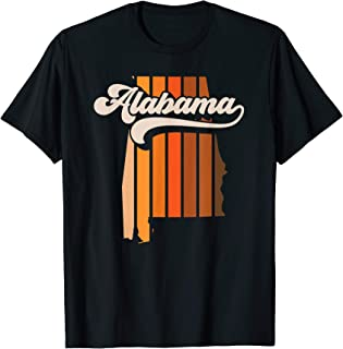 Alabama Vintage Retro 70s Stripe State Silhouette Logo T-Shirt