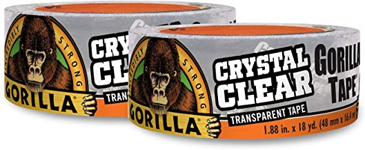 "Gorilla Crystal Clear Duct Tape, 1.88"" x 18 yd, Clear, (Pack of 2)"