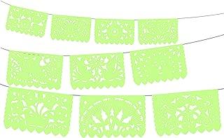 Fiesta Party Banner, Papel Picado Banner, Over 60 feet Long, Light Green Tissue Paper Garland, Mexican Decorations, Weddings, Quinceneras, Birthdays, Fiesta Party Supplies, Cinco de Mayo, WS2009