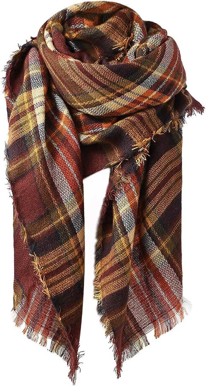 Zando Plaid Blanket Thick Winter Scarf Tartan Chunky Wrap Oversized Shawl Cape Scarves