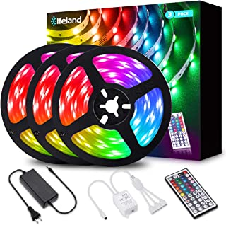 LED Strip Lights, Elfeland 39.3FT/12M 5050 RGB Light Strips Color Changing Rope Lights Flexible Tape Light Kit with 44 Keys IR Remote Controller & 12V 5A Power Supply