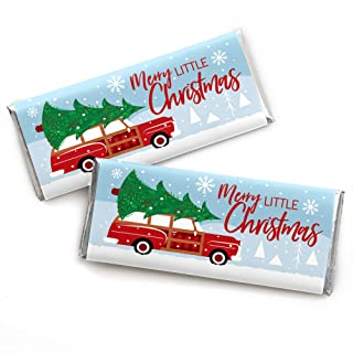 Big Dot of Happiness Merry Little Christmas Tree - Candy Bar Wrapper Red Car Christmas Party Favors - Set of 24