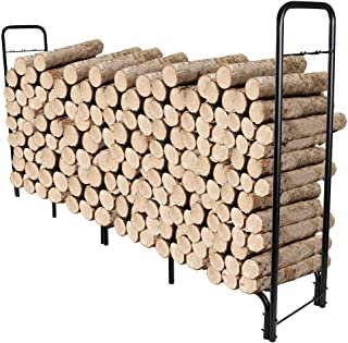 IZLIF 8ft Firewood Rack Outdoor Heavy Duty Log Fire Wood Storage Holder Steel Tubular Assemble with Fireplace Tool Hooks for Patio Deck Log Storage Stand