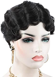 Beauart 100% Remy Human Hair Short Classic Finger Wave Mommy Wigs for Women Side Part Vintage Hairstyle Black Wigs
