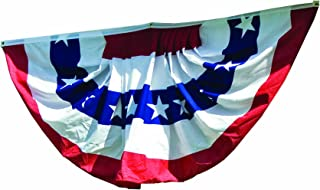 WINDSTRONG 3x6 Ft Deluxe (Double Sided) US American Flag Bunting Half Fan Fully Pleated Cotton Made in The USA