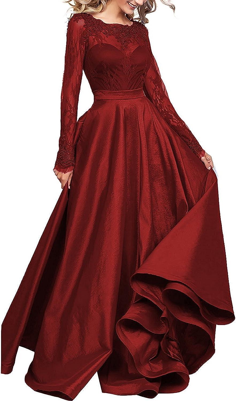 Ellystar Women's Jewel Luxury Long Sleeve ALine Taffeta Zipper Evening Dresses