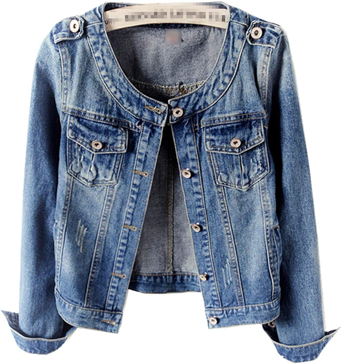S-6XL Women's Collarless Denim Jackets Long Sleeve Classic Short Jeans Coat