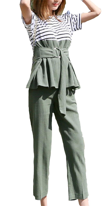 [美しいです] 女性 スーツ Tシャツ 短袖 九分ズボン 春 夏  流行る スプライス ストライプ 二枚