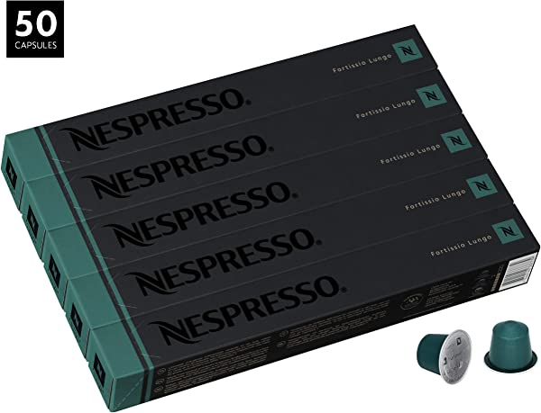 Nespresso Fortissio Lungo OriginalLine Capsules 50 Count Espresso Pods Intensity 8 Blend Indian Malabar Colombian Arabica Coffee Flavors