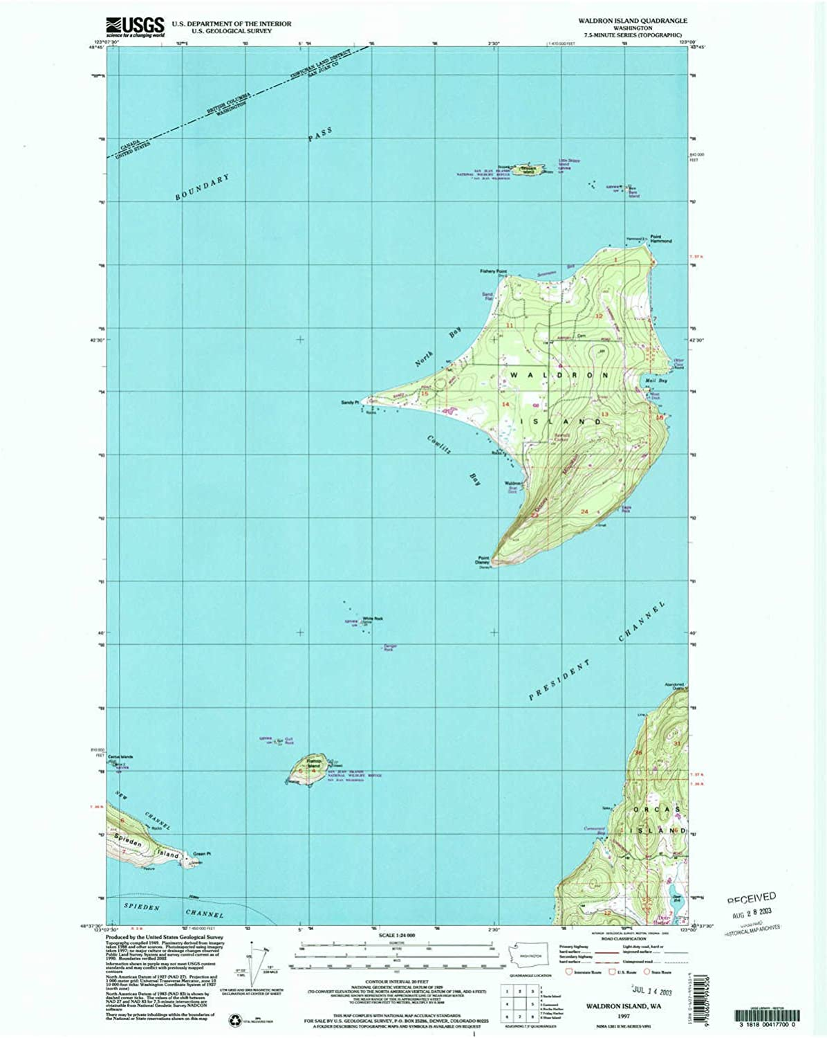 Waldron Island WA topo map, 1 24000 Scale, 7.5 X 7.5 Minute, Historical, 1997, Updated 2003, 26.9 x 22 in
