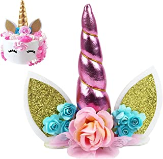 Unicorn Cake Topper, KOOTIPS Unicorn Happy Birthday Twinkle DIY Glitter First Birthday Cupcake Topper Cake Smash Candle Alternative Party Handmade (3D Unicorn Cake Topper Pink)