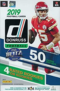 2019 Donruss Football Unopened Hanger Box with 60 Cards including 4 Rookies, 4 Hanger EXCLUSIVE GREEN Parallels and 10 Insert Cards