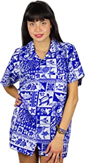 Funky Hawaiian Blouse, VHO-Puzzle, Blue, XS