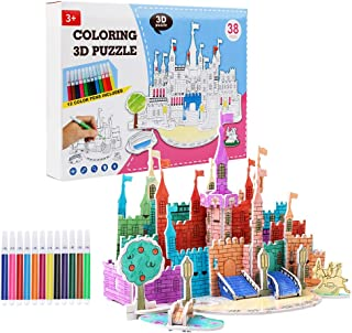 2020 New 3D Coloring Puzzle with 12 Watercolor Pens, DIY Art Drawing Creative Toys for Kid Toddlers Boys Girls, Best Paint...