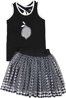 Deux par Deux Girls' Tank Top and Plaid Skirt Set Zest of Lemon, Sizes 5-12