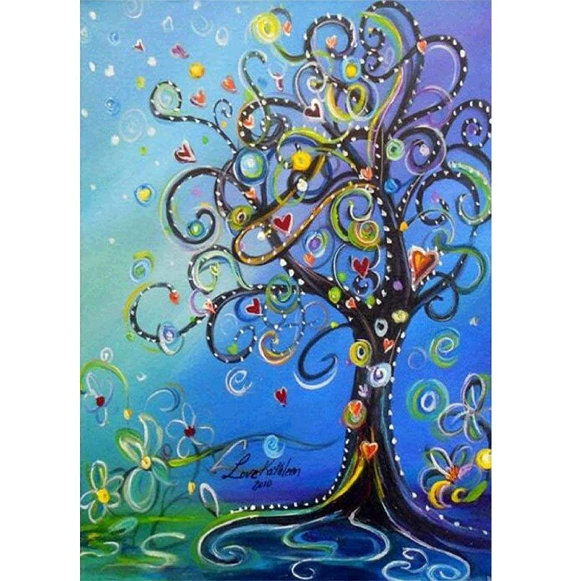 RICUVED 5D Diamond Painting by Number Kit, Love Tree Full Drill Rhinestone Embroidery Cross Stitch Supply Arts Craft Canvas Wall Decor 12 x16inch
