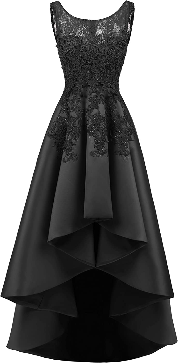 ALAGIRLS Women Satin Prom Evening Dresses Hi Low Lace Formal Gowns