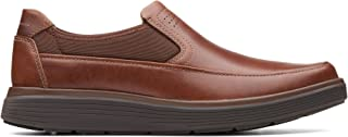 Clarks Un Abode Go Leather Shoes in Dark Tan Wide Fit Size 10