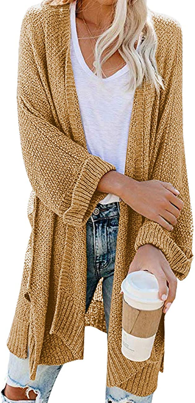 SENFURE Womens Kimono Cardigan with Pockets Solid Color Long Sleeve Open Front Casual Knit Sweaters Coat Outerwear