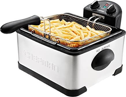 Chefman Deep Fryer w/Basket Strainer Perfect For Chicken, Shrimp, French Fries & More, Removable Oil Container & Rotary Knob for Adjusting The Temperature, Stainless Steel, XL, 4 L