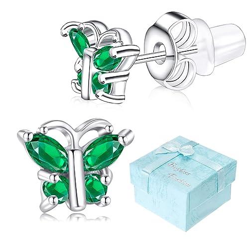 47976f3f5 Buyless Fashion Girls Butterfly Birthstone Stud Earrings Cubic Zirconia  Jewelry