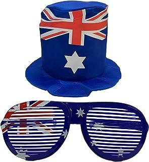 Bestbuyz Australia Day Dress Up Aussie Value Pack - Aussie Flag Jumbo Shutter Shade Glasses and Aussie Flag Soft Top Hat C...