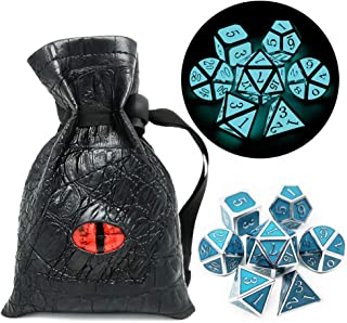 Haxtec Glow in The Dark Metal Dice Set Glowing Blue Silver W/ Dragon Dice Bag 7 Die D&D Dice Set for Dungeons and Dragons RPG Games-Silver Glowing Blue-V2