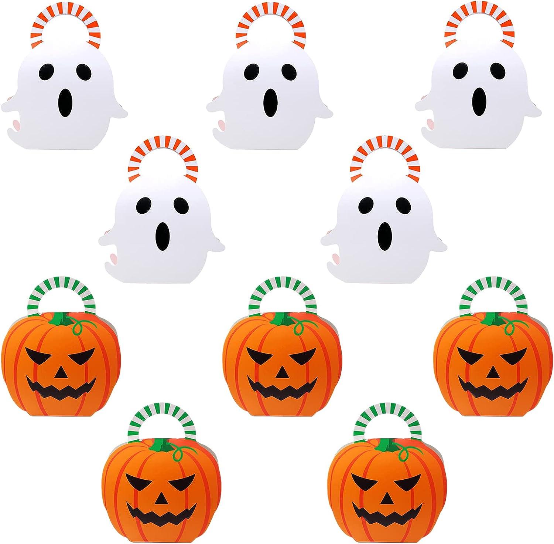 10 pcs Cajas de Dulces de Halloween Bolsas de regalo para Halloween Cajas de regalo de papel de Halloween para dulces, galletas, chocolate, regalos, buffet dulces accesorios para fiestas de Halloween
