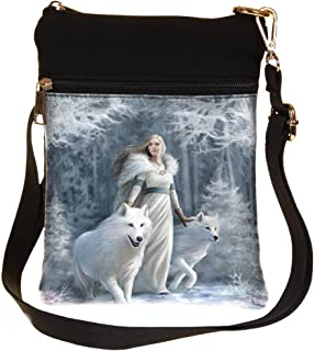 Nemesis Now Schultertasche, Motiv: Winter-Wächter, 23 cm, Weiß, Kunstleder und Leinen, Einheitsgröße, Design von Anne Stokes