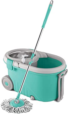 Spotzero By Milton Royale Spin Mop, Aqua Green (Steel Wringer)