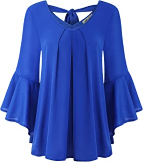 Half Sleeve Shirt, Women's Business Casual Clothing Vneck Pleated Front Blouse Top Dressy 3/4 Ruffle Bell Sleeve Swing Hem...