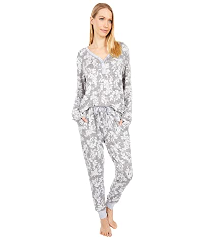 Karen Neuburger Pillow Soft Long Sleeve Henley PJ (Medium Heather Floral) Women