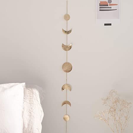 Amazon Com Moon Phase Wall Hanging Handmade Hammered Gold Metal 7 Moons 34 Banner Boho Home Decor Modern Celestial Phases Decoration Lunar Art Wall Decor For Bedroom Living Room Dorm Apartment Or Nursery