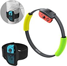 Adjustable Elastic Leg Fixing Strap and Ring-Con Non-Slip Grips Accessories Kits for Nintendo Switch Ring Fit Adventure Game -Green and Yellow