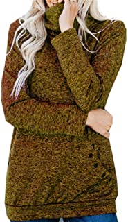 MogogoWomen Blouse Long-Sleeve Knitted High Neck Fall Winter Pocket Top