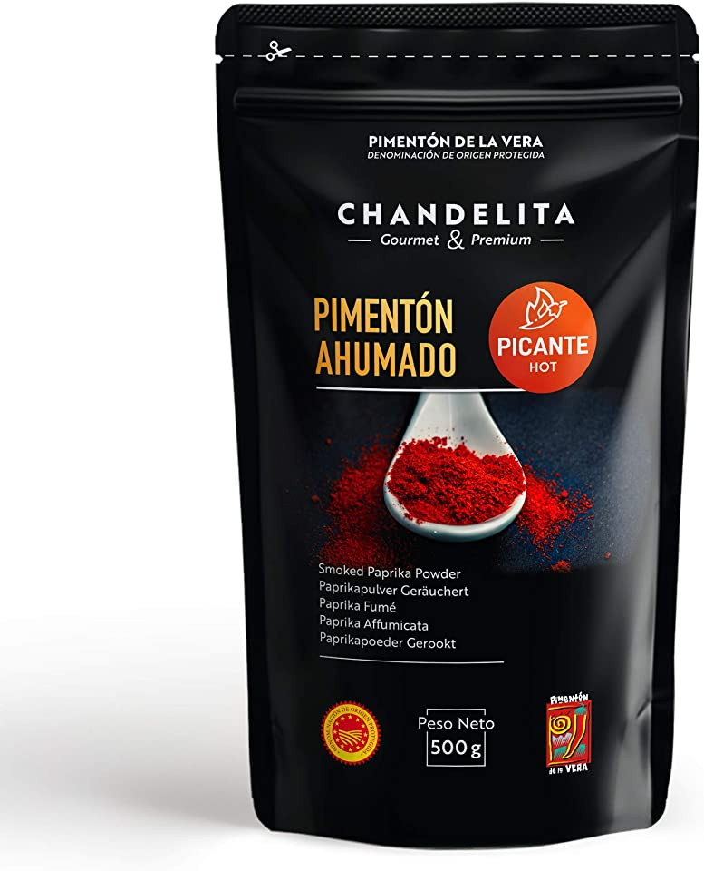 CHANDELITA Hot Smoked Paprika Powder De La Vera in Bag of 500gr with Protected Designation of Origin - Spices and Seasoning. Gourmet & Premium