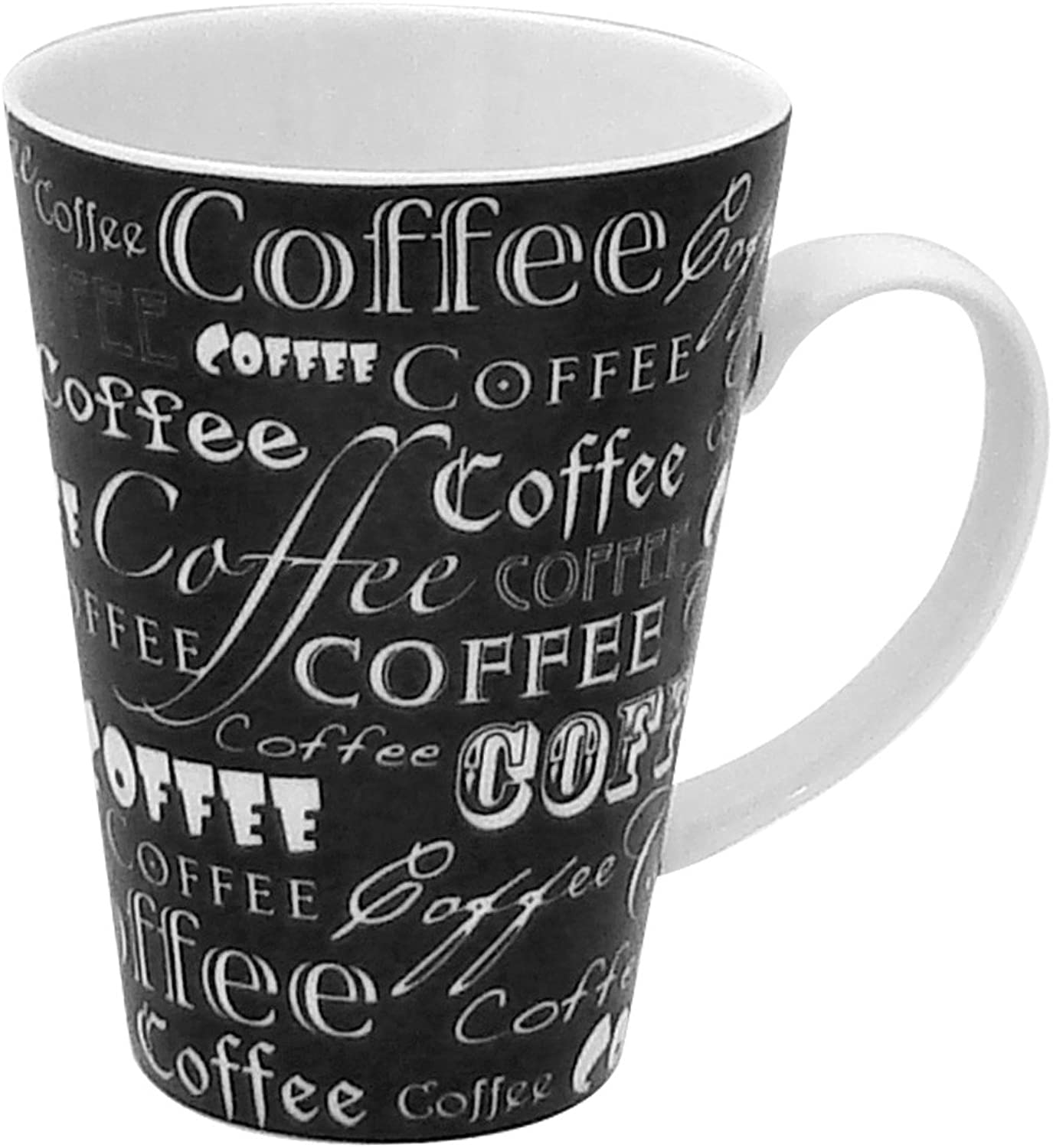 Zrike Brands Coffee Words On Mug, noir, Set of 4 by RSquarouge