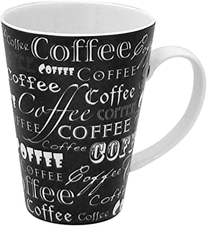 Zrike Brands Coffee Words On Mug, Black, Set of 4